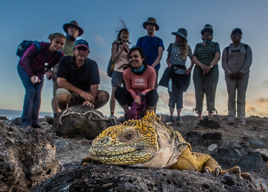 Tourists in the Galapagos islands