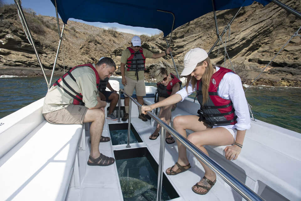 glass-bottom boat activity in galapagos