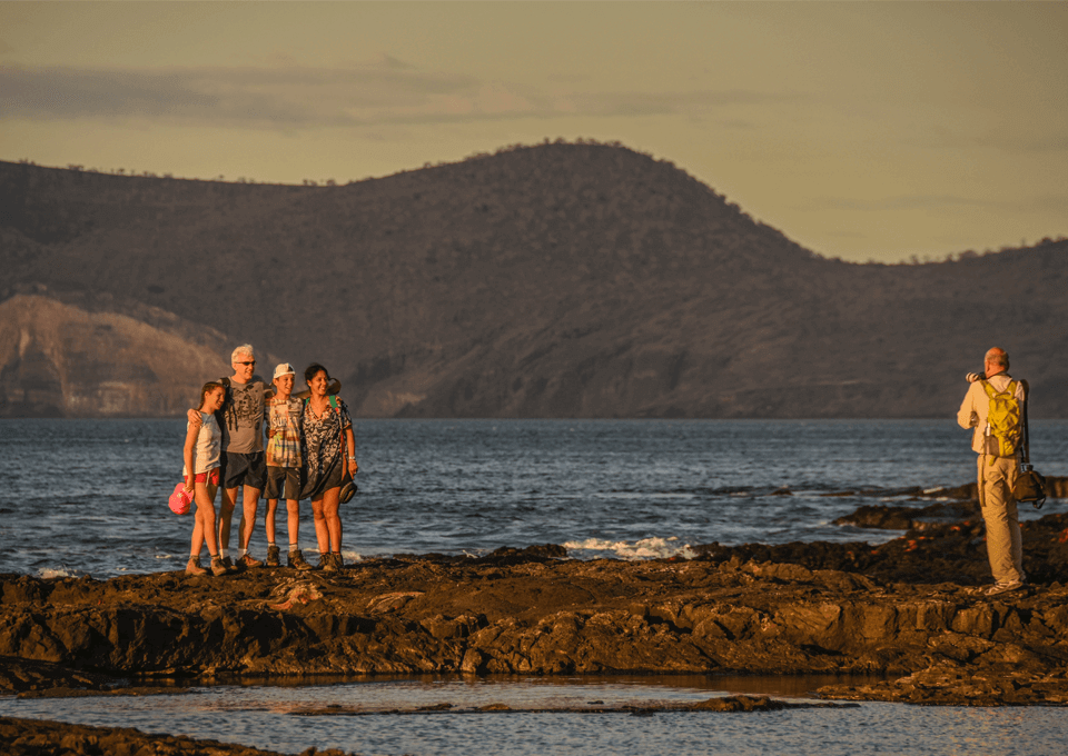 Family enjoying a vacation in the Galapagos islands