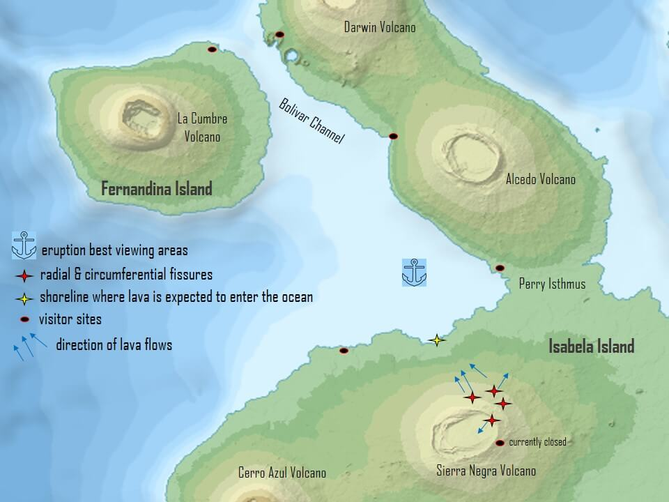 Map of the volcanic eruption in the Galapagos islands