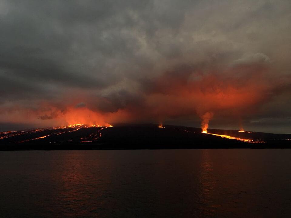 Volcanic eruption at Galapagos islands