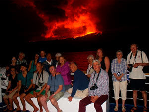 Guests aboard Yacht Isabela during Wolf volcano eruption