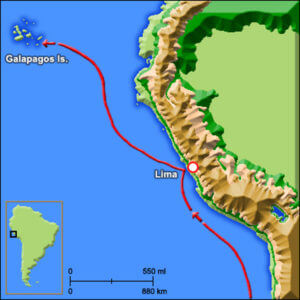 Map of Charles Darwin journey to the Galapagos