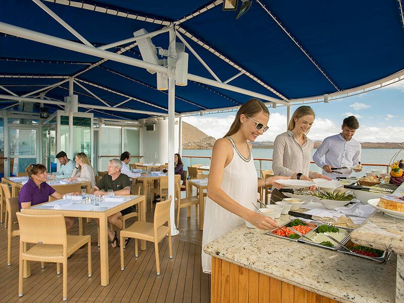 Yacht Isabela features: buffet on sun deck