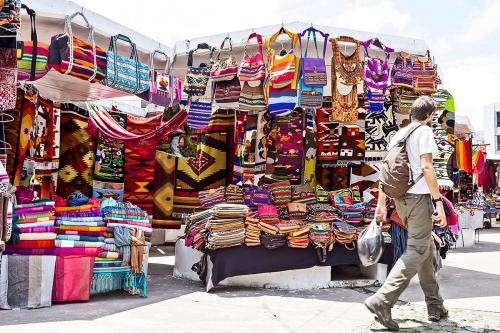 Ponchos Plaza in Otavalo, Ecuador