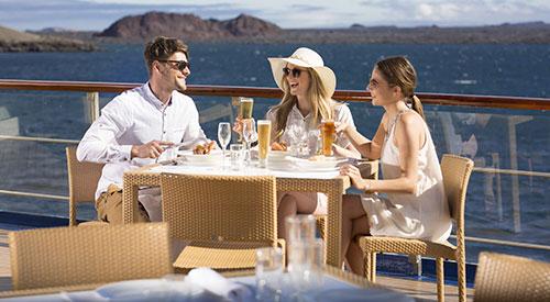 Yacht Isabela II's upper deck al fresco meals