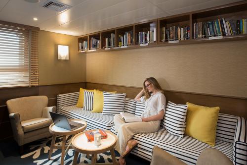 Library aboard Yacht Isabela II