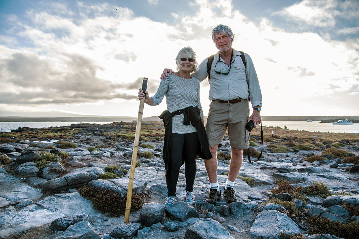 Couple trekking in the Galapagos Islands