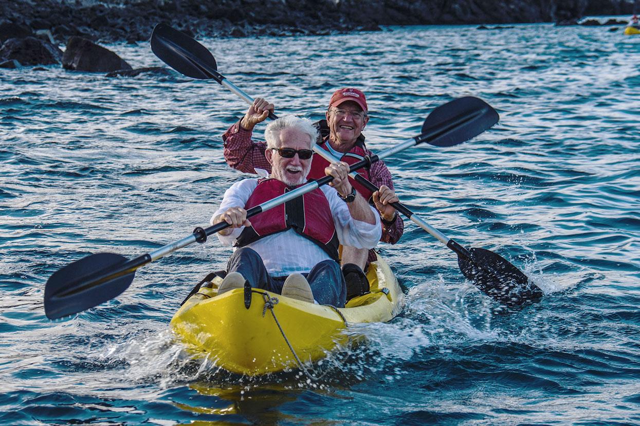 Guests having fun while kayaking