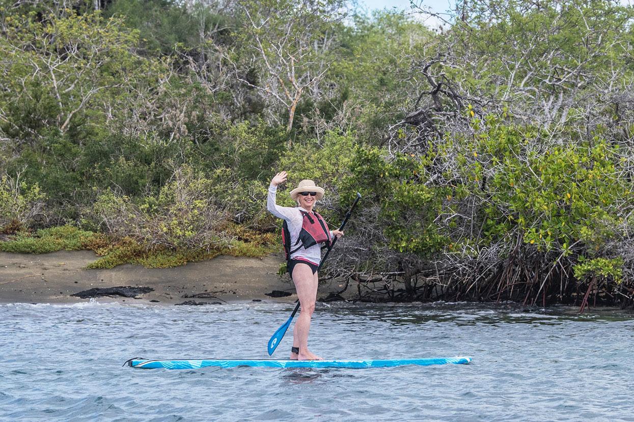 Woman paddleboarding